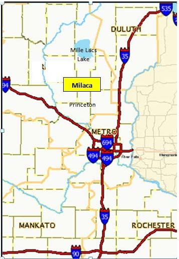 Map of Area Around Mille Lacs County