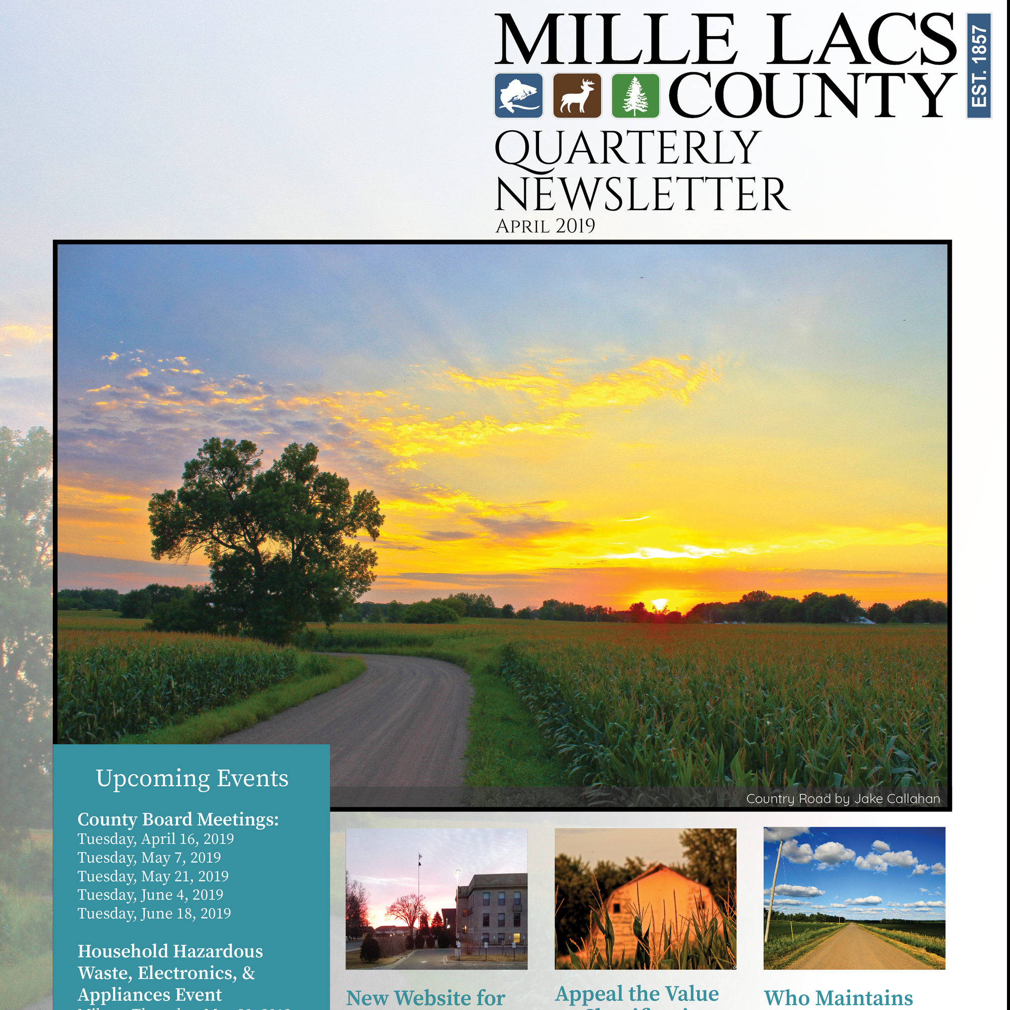 Front Cover of the April 2019 Mille Lacs County Quarterly Newsletter.