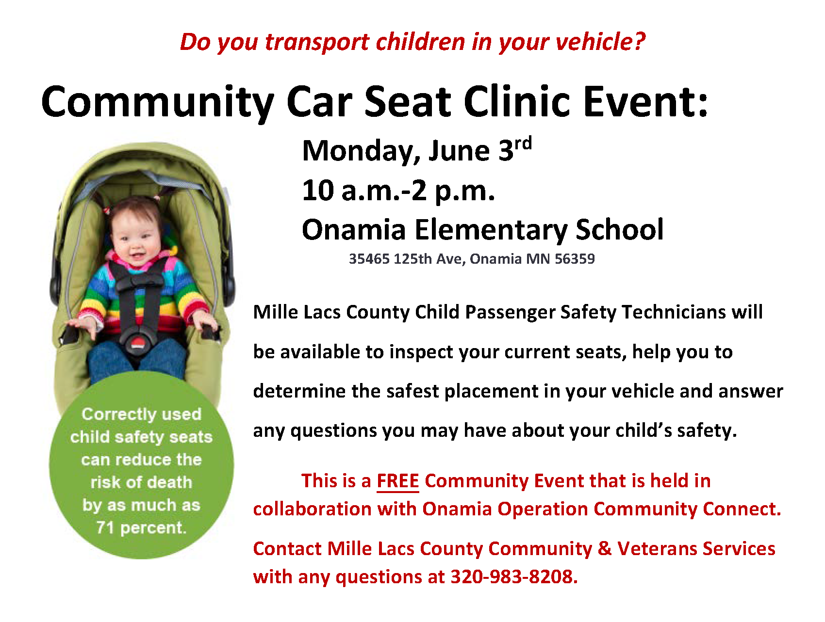 Community Car Seat Clinic Event
