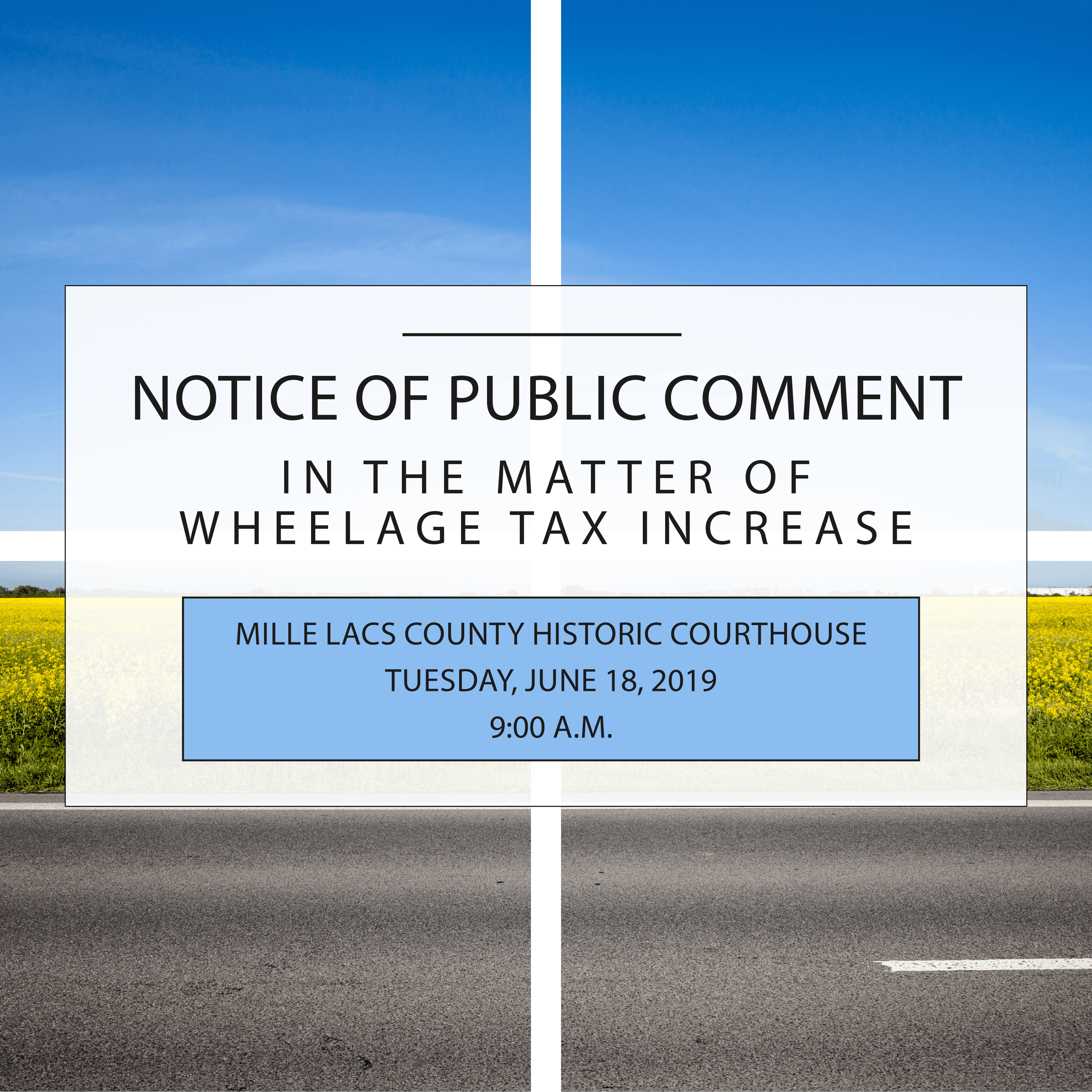 Notice of Public Comment in the Matter of Wheelage Tax Increase Flyer