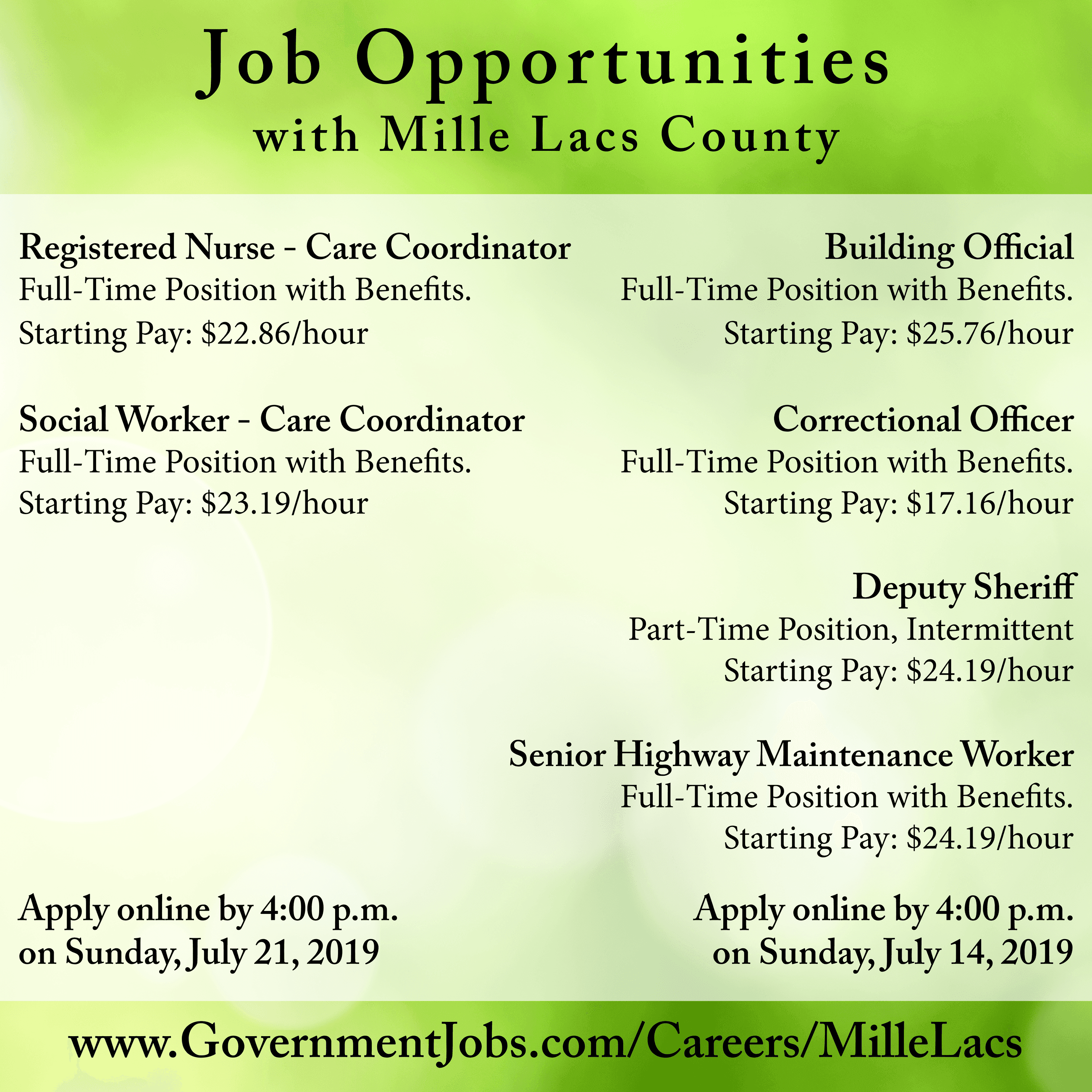 Job Opportunities flyer