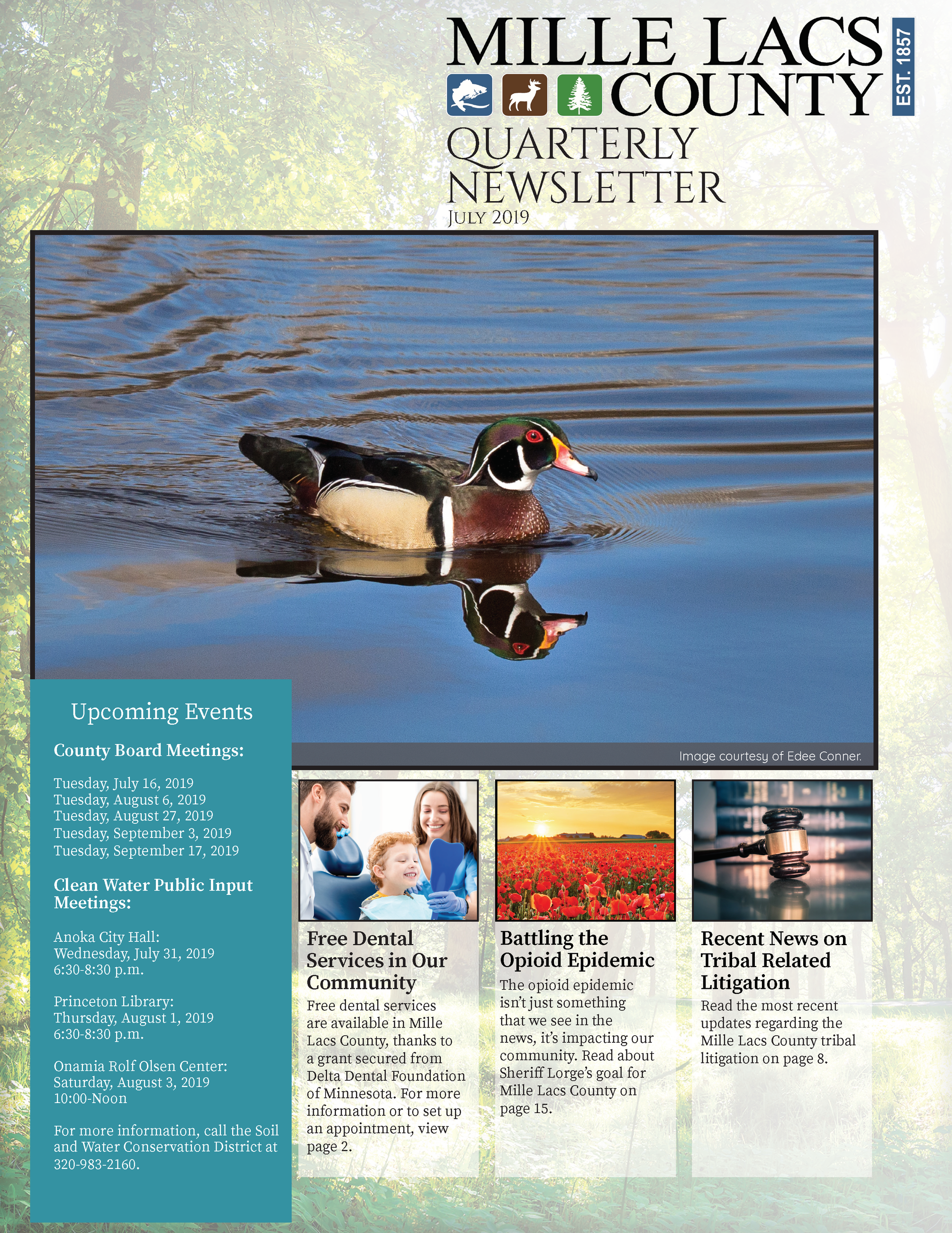 Mille Lacs County Quarterly Newsletter: July 2019 Cover
