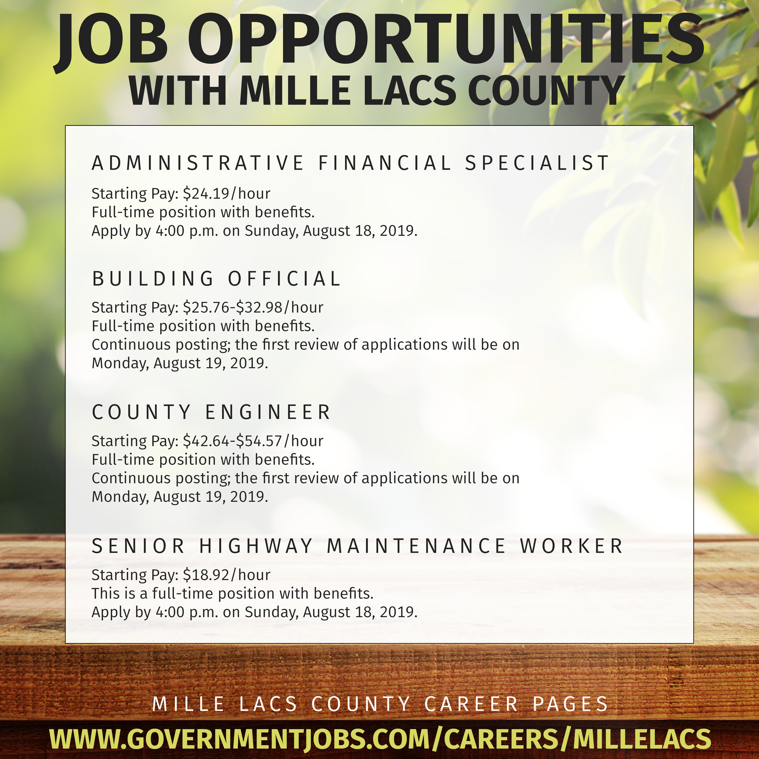 August Job Opportunity Poster