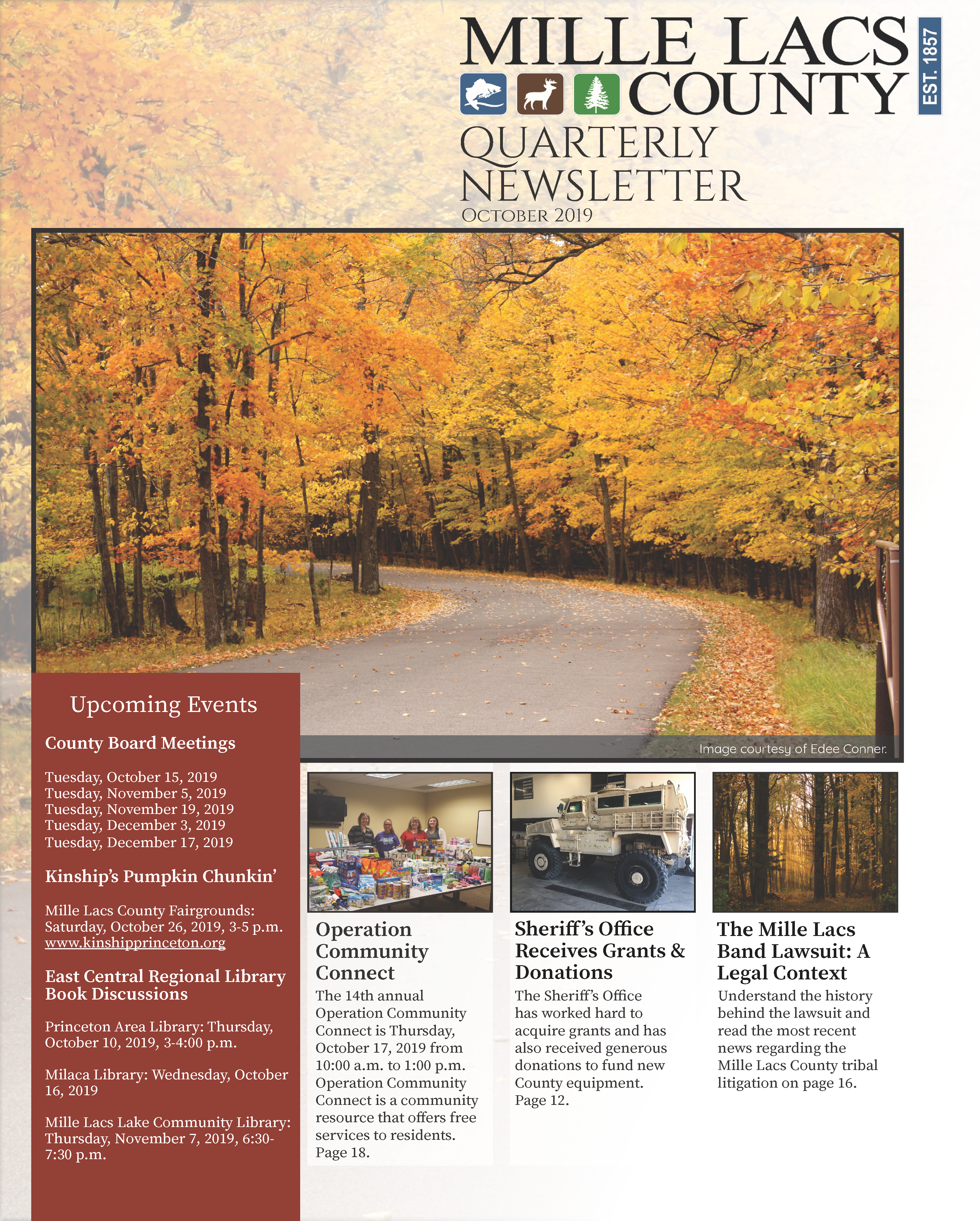 Mille Lacs County Quarterly Newsletter: October 2019 Cover