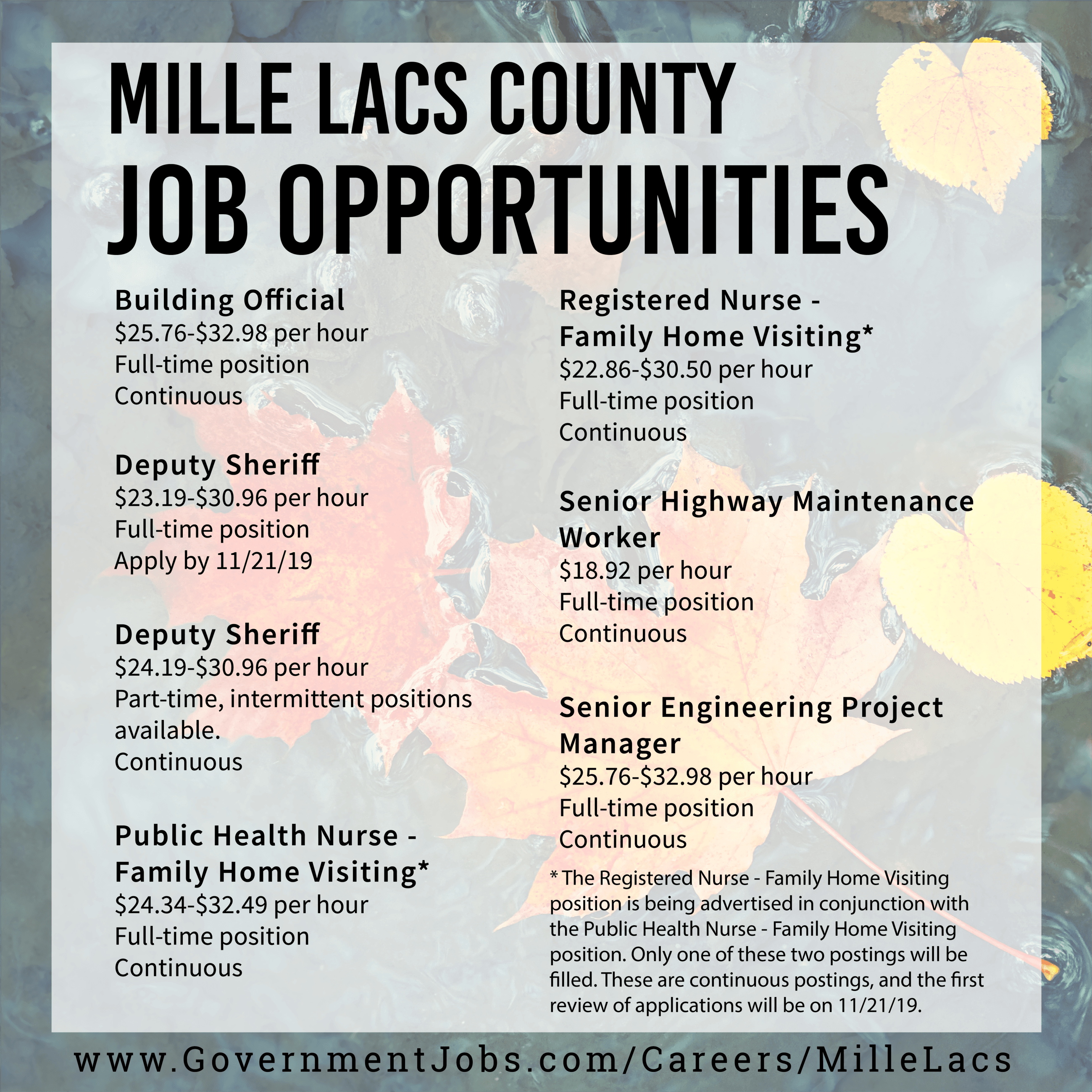 Job Opportunities in Mille Lacs County Flyer (all flyer text is available below.)