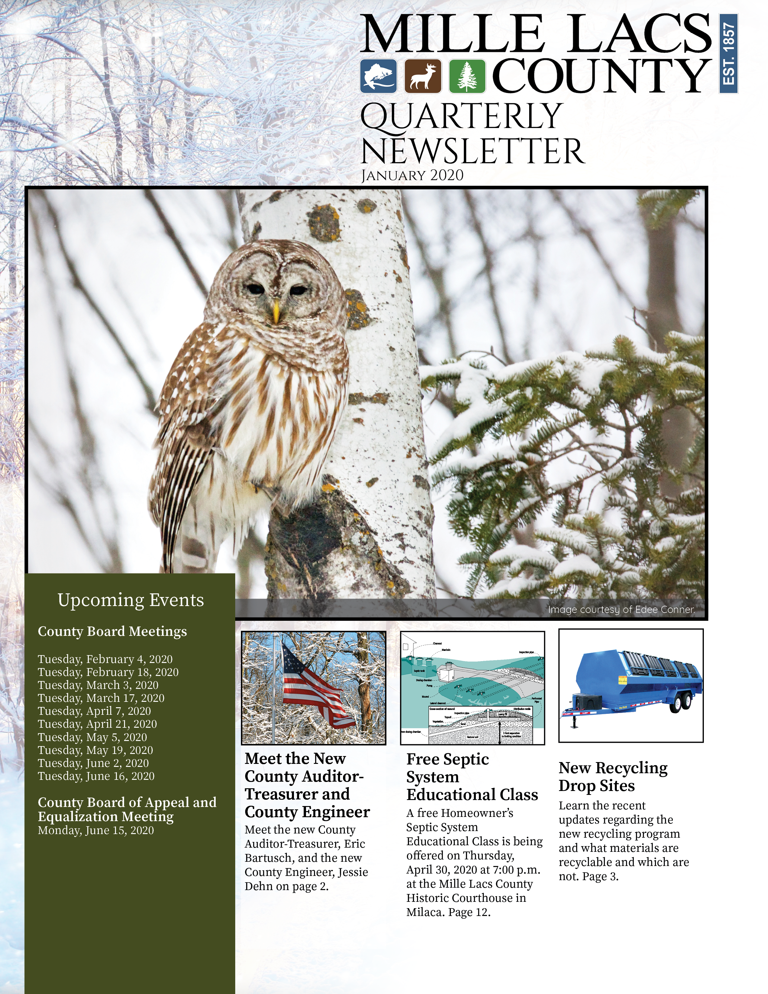 The front cover of the Mille Lacs County Quarterly Newsletter January 2020.