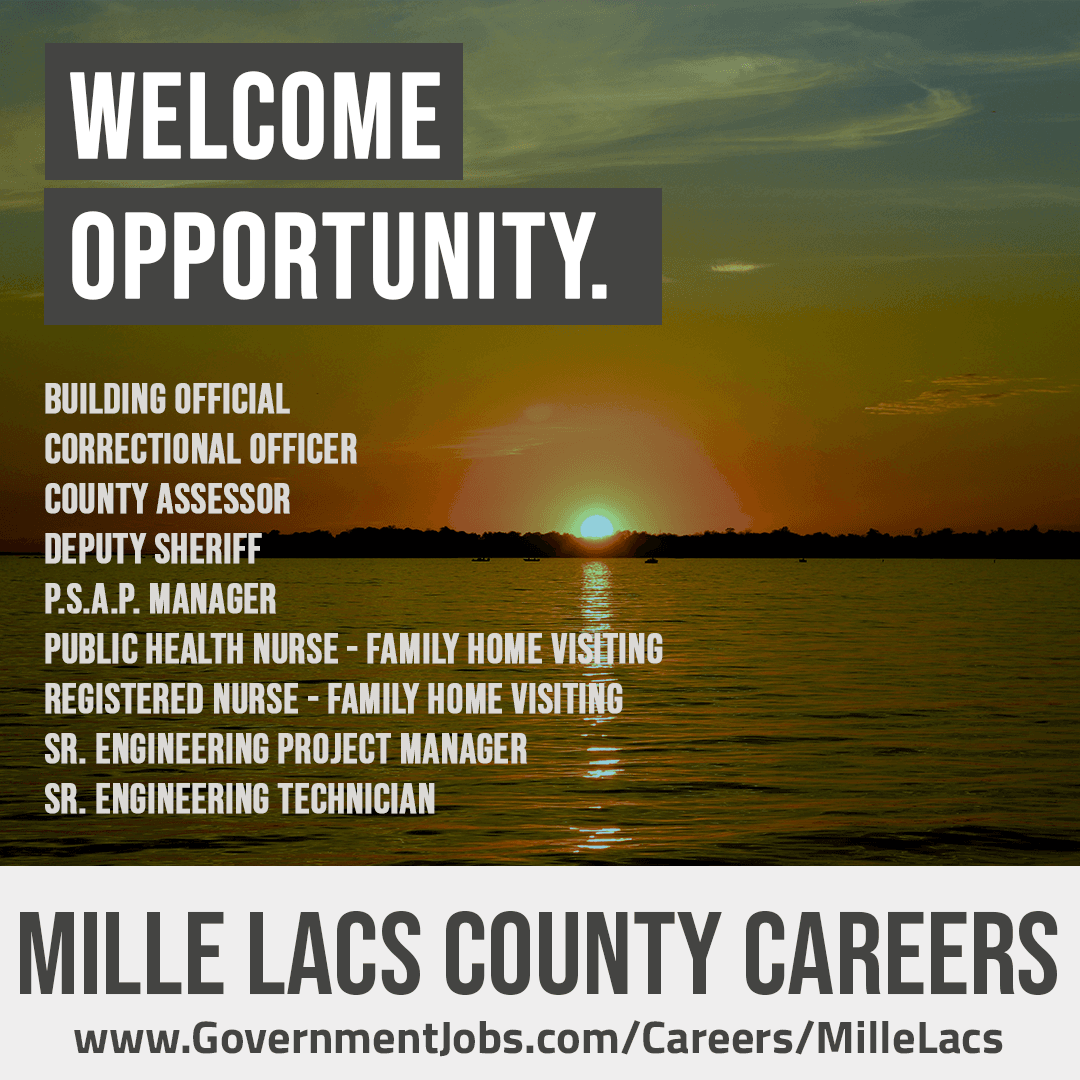 Mille Lacs County Job Opportunities poster; all information is available in the text description box