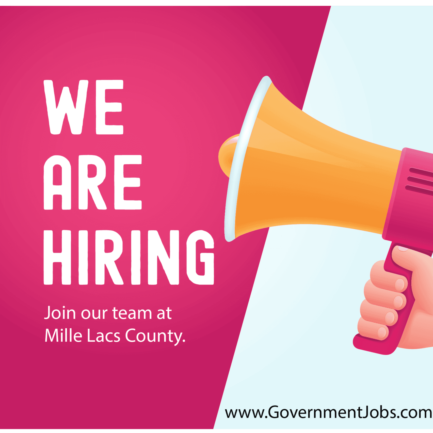 """We are hiring. Join our team at Mille Lacs County. www.governmentjobs.com/careers/millelacs"""