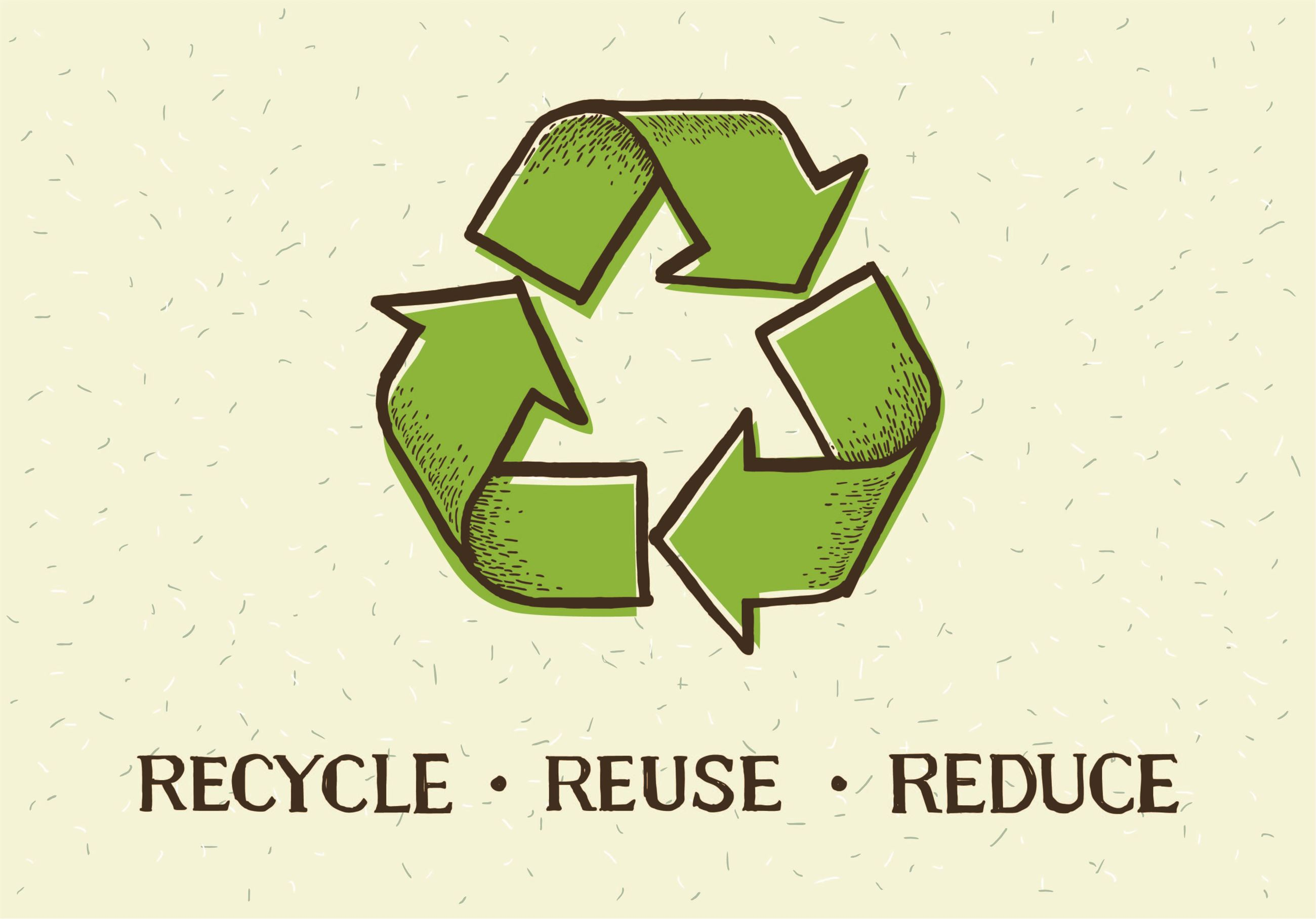 "Recycling symbol with the phrase ""Recycle, Reuse, Reduce."""