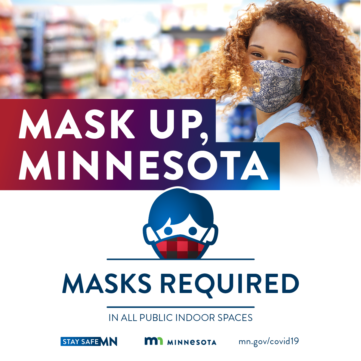 """Mask Up, Minnesota"" logo with woman wearing a face mask."
