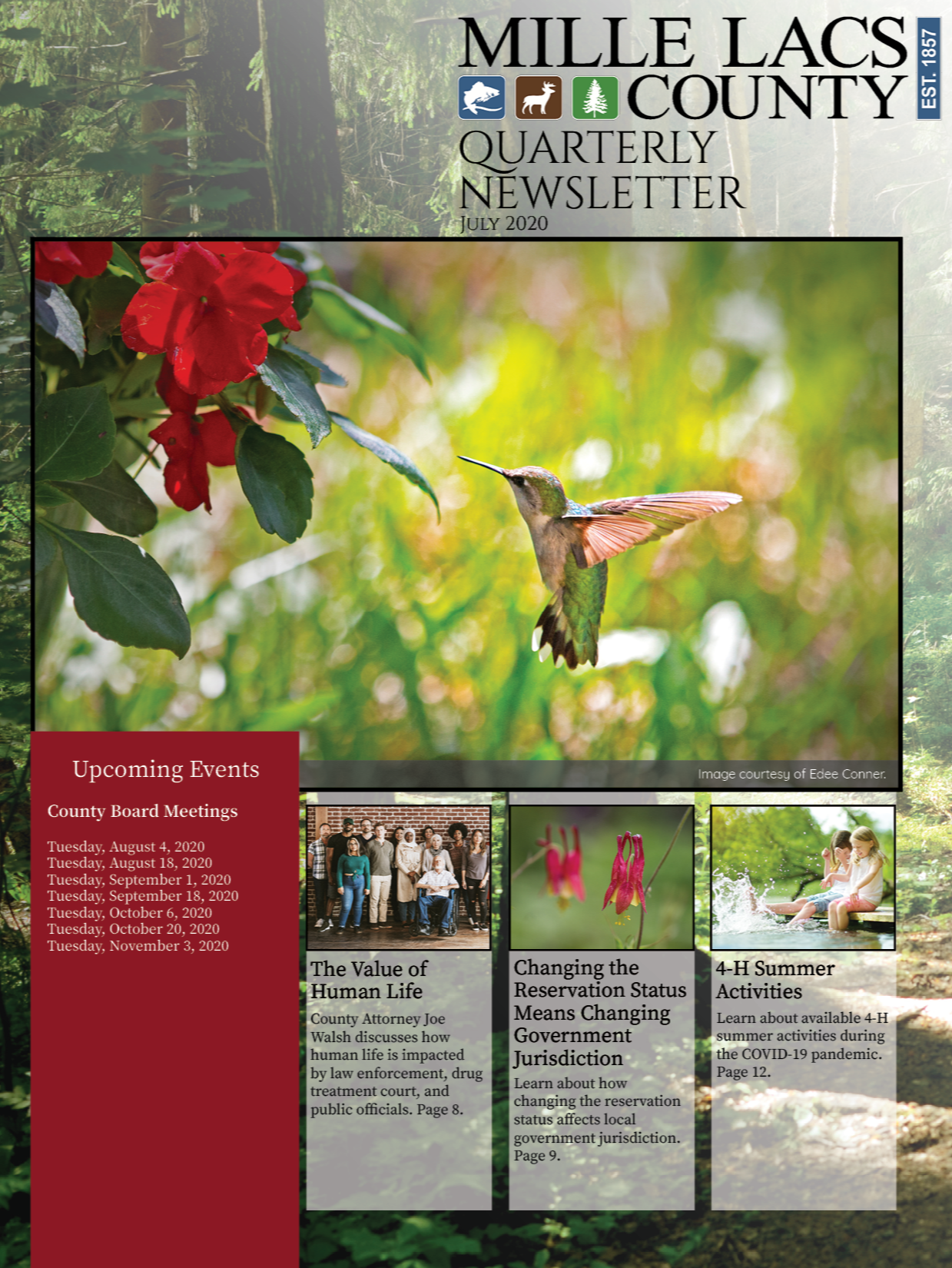 Cover of the July 2020 Mille Lacs County Quarterly Newsletter