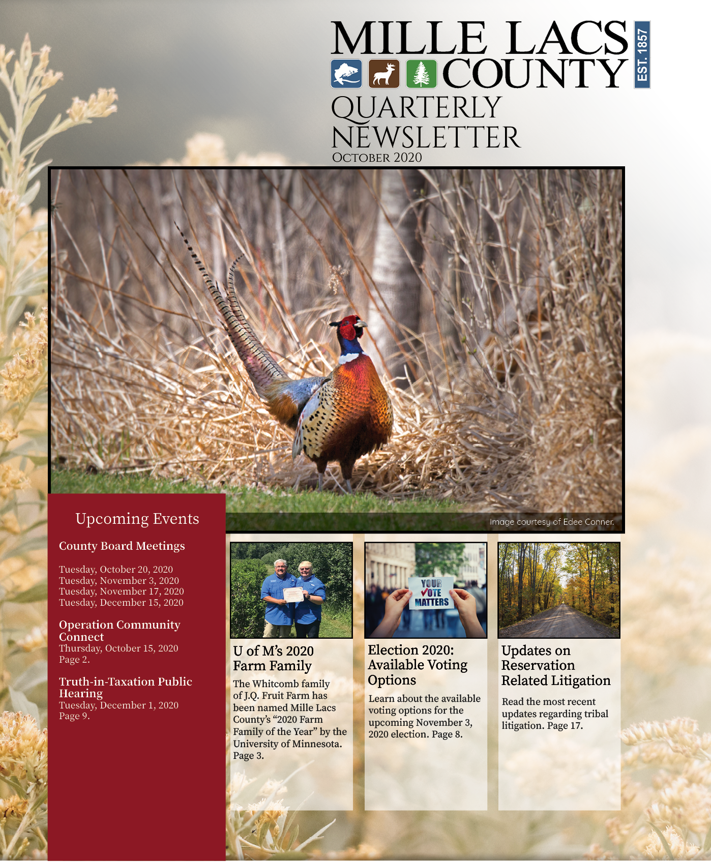 The front cover of the Mille Lacs County Quarterly Newsletter October 2020.