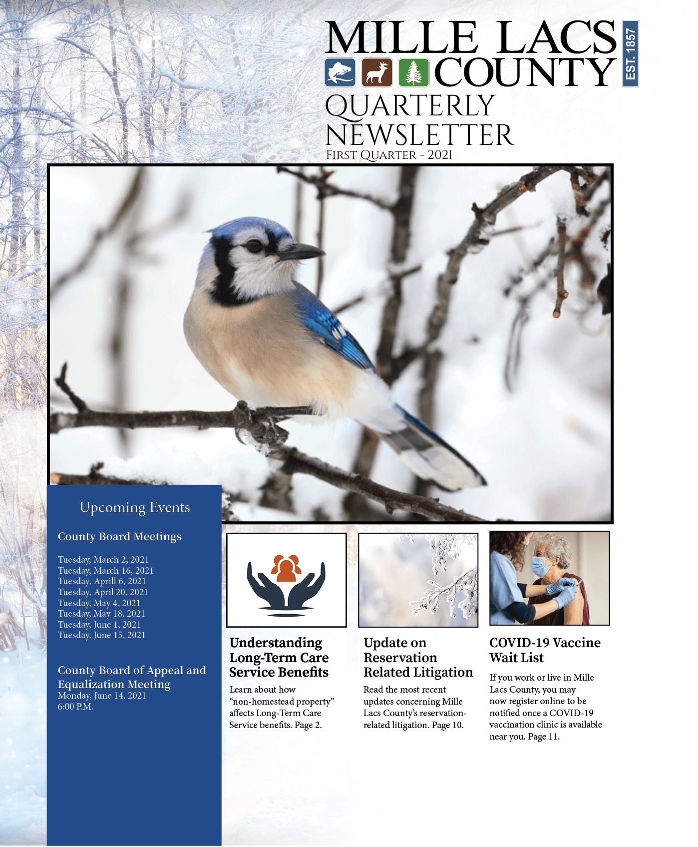 Mille Lacs County Quarterly Newsletter - First Quarter 2021 Cover witha photo of a blue jay bird.
