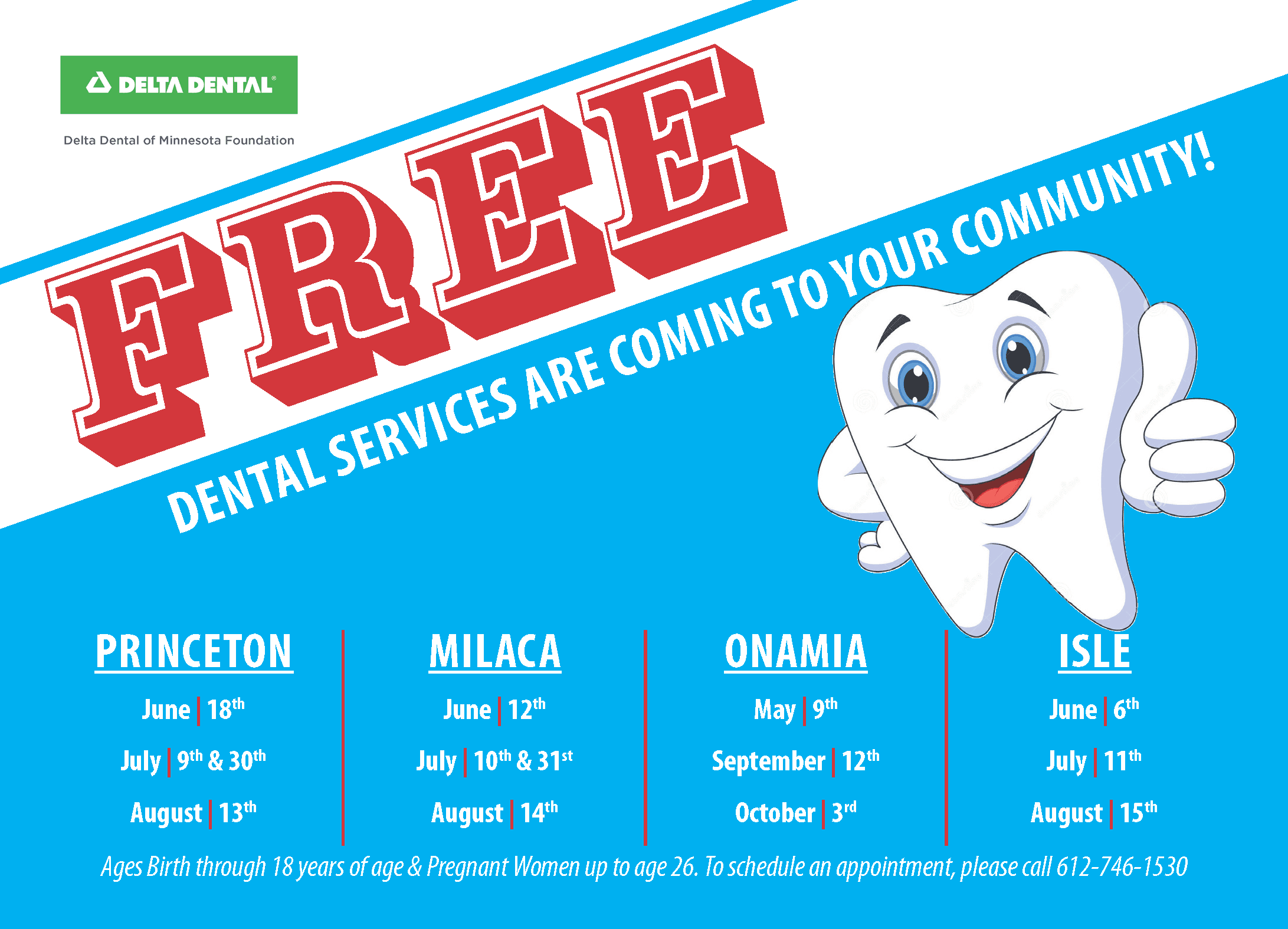 Dental Services Flyer; Call CVS at 320-983-8208 for additional information.